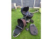 Maxi Cosi Elea stroller, pram, newborn nest, carrycot, rain cover and adaptors