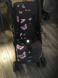 Silver cross POP pushchair black pink butterflies use from birth great holiday buggy