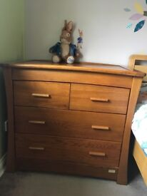 Mamas & Papas Solid oak wardrobe and drawers/changing unit.