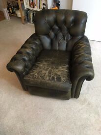 Dark green leather armchair