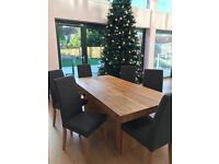 SOLID OAK DINING TABLE 180CM AND 6 FABRIC CHARCOAL CHAIRS