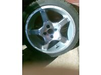 "momo 16""alloy wheels vauxhall 4 stud with good tyres"