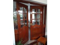 Internal Glazed Stained Mahogany Brown Double Doors