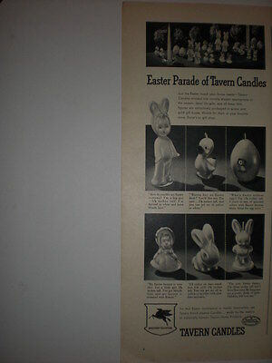 1947 EASTER PARADE of TAVERN CANDLES BUNNY RABBIT EGG CHICKS SOCONY Vtg print Ad
