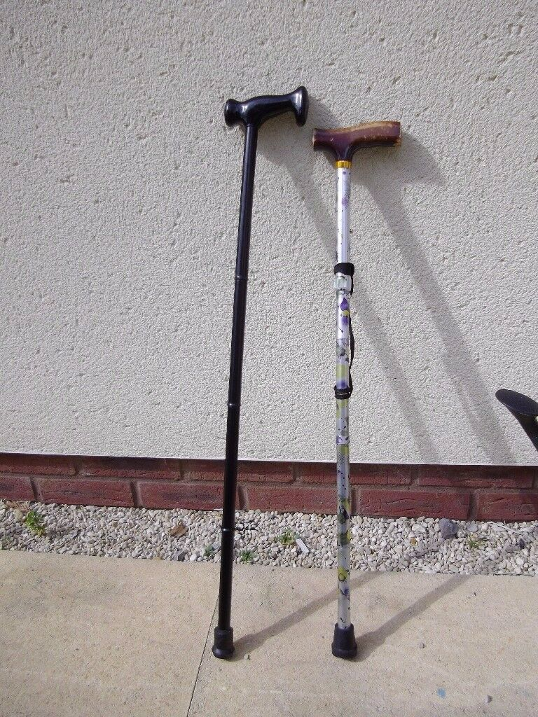 Two walking sticks, one metal that folds up, helps mobility.