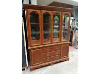Dining / Kitchen / Living Room Display Cabinet Dresser Cupboard with Mirror and Lights - Solid Wood
