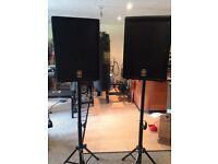 YAMAHA AX 12 Speakers. 2no. with KAMSTANS monitor stands LIVE MUSIC EQUIPMENT