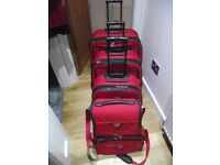 "5 piece set of ""Antler"" Luggage in Red Canvas material"