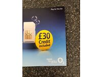 O2 SIM card with £30 credit