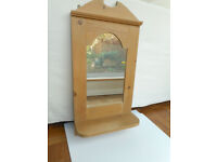 Small solid pine mirror and shelf unit