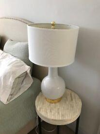 Pair of Safavieh UKL4024F Elle Table Lamp, Ceramic, White