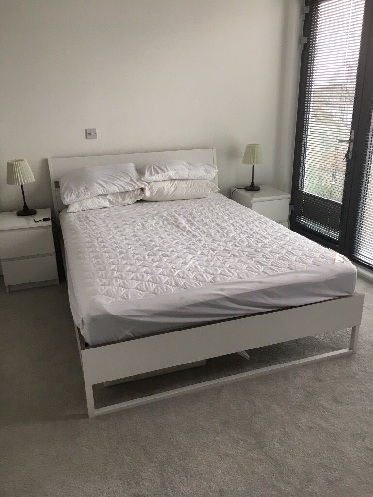 King Size Bed Ikea Trysil White Frame Including Slatattress