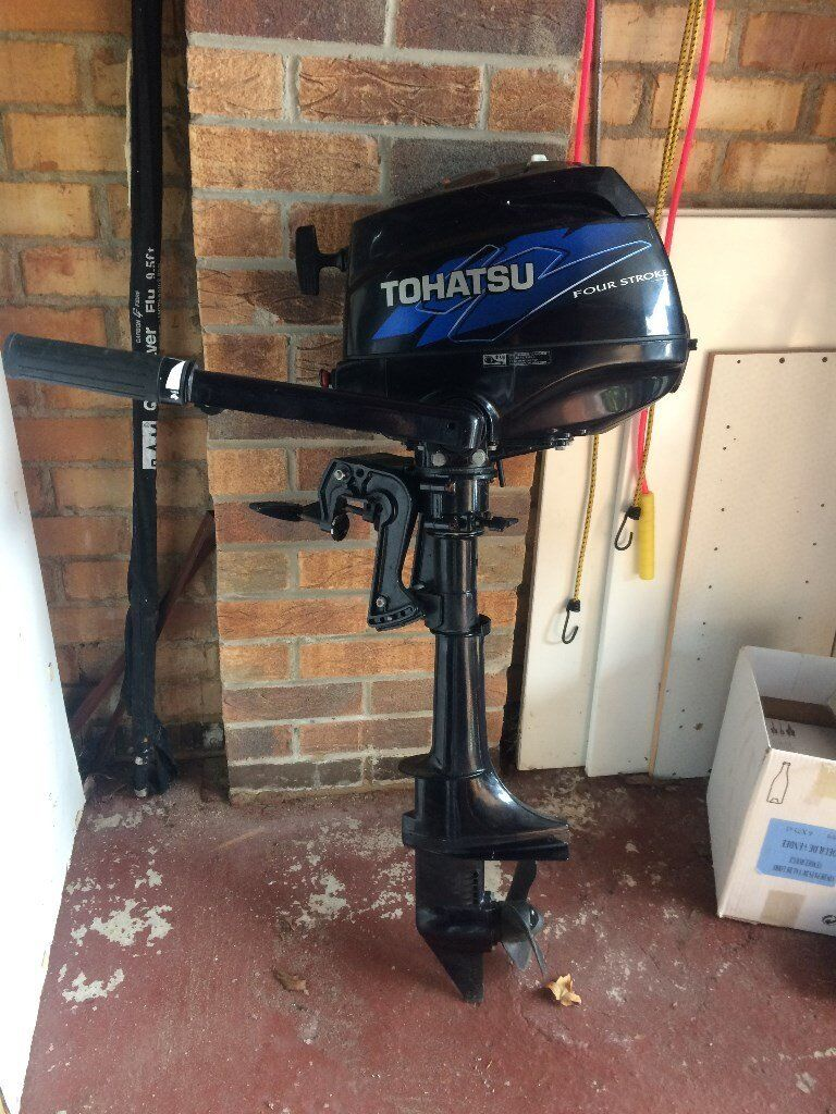 Tohatsu 3.5hp, 4 stroke outboard motorin West Bridgford, NottinghamshireGumtree - Tohatsu 3.5hp, 4 stroke outboard motor. Seen very little use (about 4 hours on River Dart) Bought from Lincolnshire Marine Services in 2011 and not used since last service by them. Kept under cover in garage since then