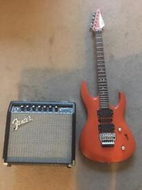 LAG guitar with fender champion 20 amp