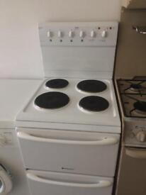 White hotpoint 50cm electric cooker grill & oven good condition with guarantee