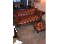Leather Chesterfield Sofa with matching Footstool practically NEW