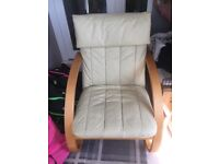 Cream leather Bentwood chair