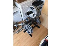 Olympic Marcy bench press with olympic weights and olympic bars, dumbbells for sale