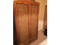 2 door wicker wardrobe and matching chests of drawers