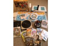 MASSIVE BUNDLE - Wii Console + Controller + Fit Board + Skylanders + Dance Mat + 10 Games + More