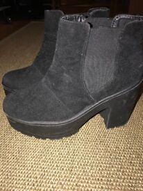 Ladies Black Suede Boots Size 6 New