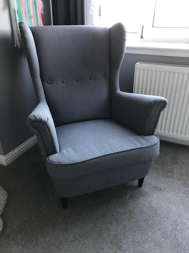 Grey Wingback Armchair Bedroom Chair Nursery Chair In