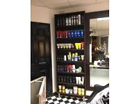 Hair and beauty display shelves