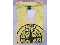 Stone Island 5615 Yellow T-Shirt, 100% Cotton - 6 Available. BULK BUY/ UK DELIVERY ONLY!