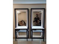 Brand New & Boxed Light up floorstanding Salon Mirror styling unit station for sale