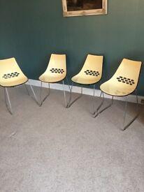 4 Calligaris Jam Sleigh-Leg Designer Chairs / Retro Style