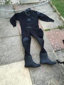 Northern Diver Dry Suit - medium Large size 9 boots