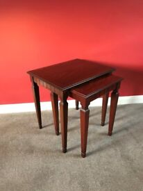 G Plan Nest of 2 tables: side/coffee/occassional tables - Mahogany wood