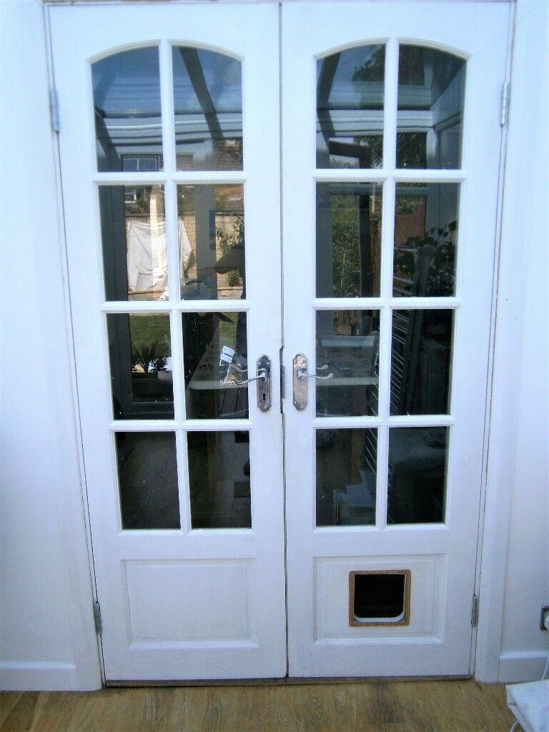 White French Doors With Cat Flap Cutout Single Glazed In Bampton