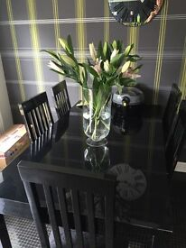 Black dining room table & 5 chairs