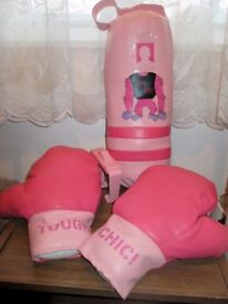 Pink boxing gloves and punch bag, sports, boxing, present for girls and women, novelty gift