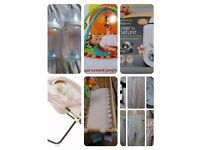 Baby snowsuits, swing bouncer crib play mat bottles and bottle warmer