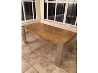 Oak and chrome dining table seats 6, maybe 8