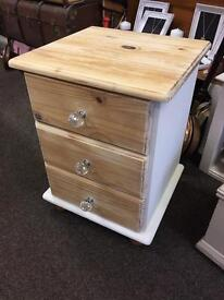 Shabby chic solid pine bedside chest of drawers