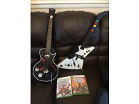 XBOX 360 GUITAR HEROES GAMES ll and lll PLUS 2 GUITARS PLUS ONE CARRYING CASE