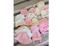 Newborn girl hats and booties