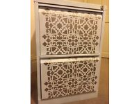 Upcycled 2 drawer white moroccan-style filing cabinet