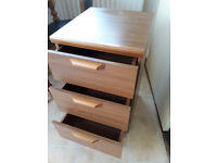 Chest of drawers x 3 - teak effect