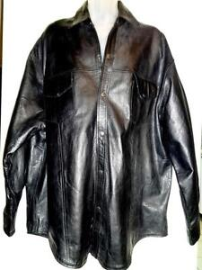 MENS 54 2XL 3XL // $1200 LEATHER COAT // BIG TALL JACKET // Black STOCKY/ HUSBAND BOYFRIEND MAN 3X XXL BIG TALL BLAZER