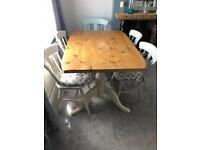 Shabby chic pine table and farmhouse chairs