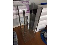 5 Tier Clear Glass Display Cabinet with Chrome Supports