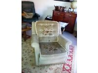 Ladies Vintage Armchair. Green velour with Patterned Seat and Back Cushions