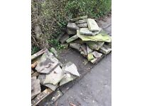 York stone slabs - rockery - paving