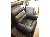 Lazy boy electric tilt and rise , brown leather recliner chair