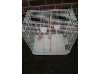 LARGE TOP OPENING BIRD CAGE WITH TOYS