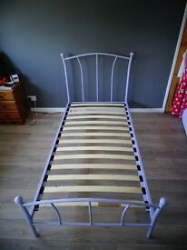 Lilac metal single bed frame